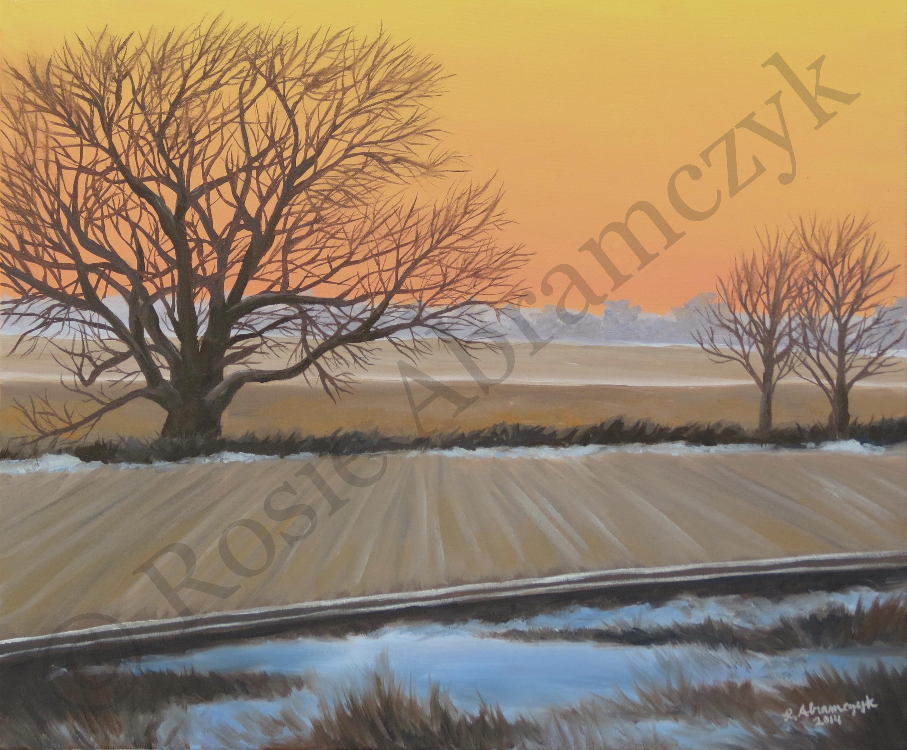 Winter Landscape Near Beloit, KS, by Rosie Abramczyk, Oil Paint, 2014