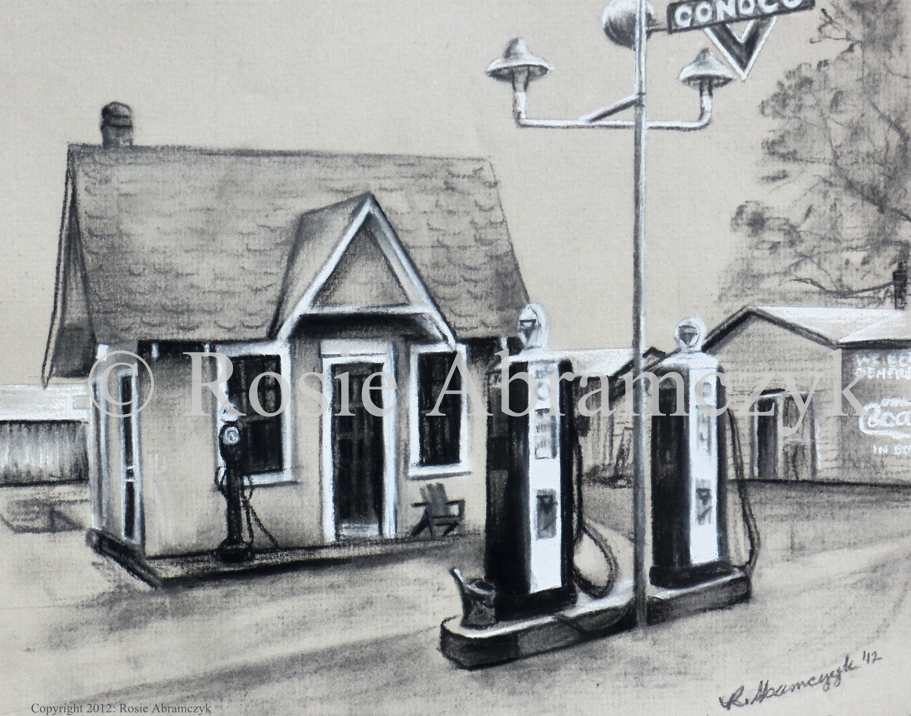 Conoco Station 1930s Marquand, by Rosie Abramczyk, Charcoal & White Pastel, 2011