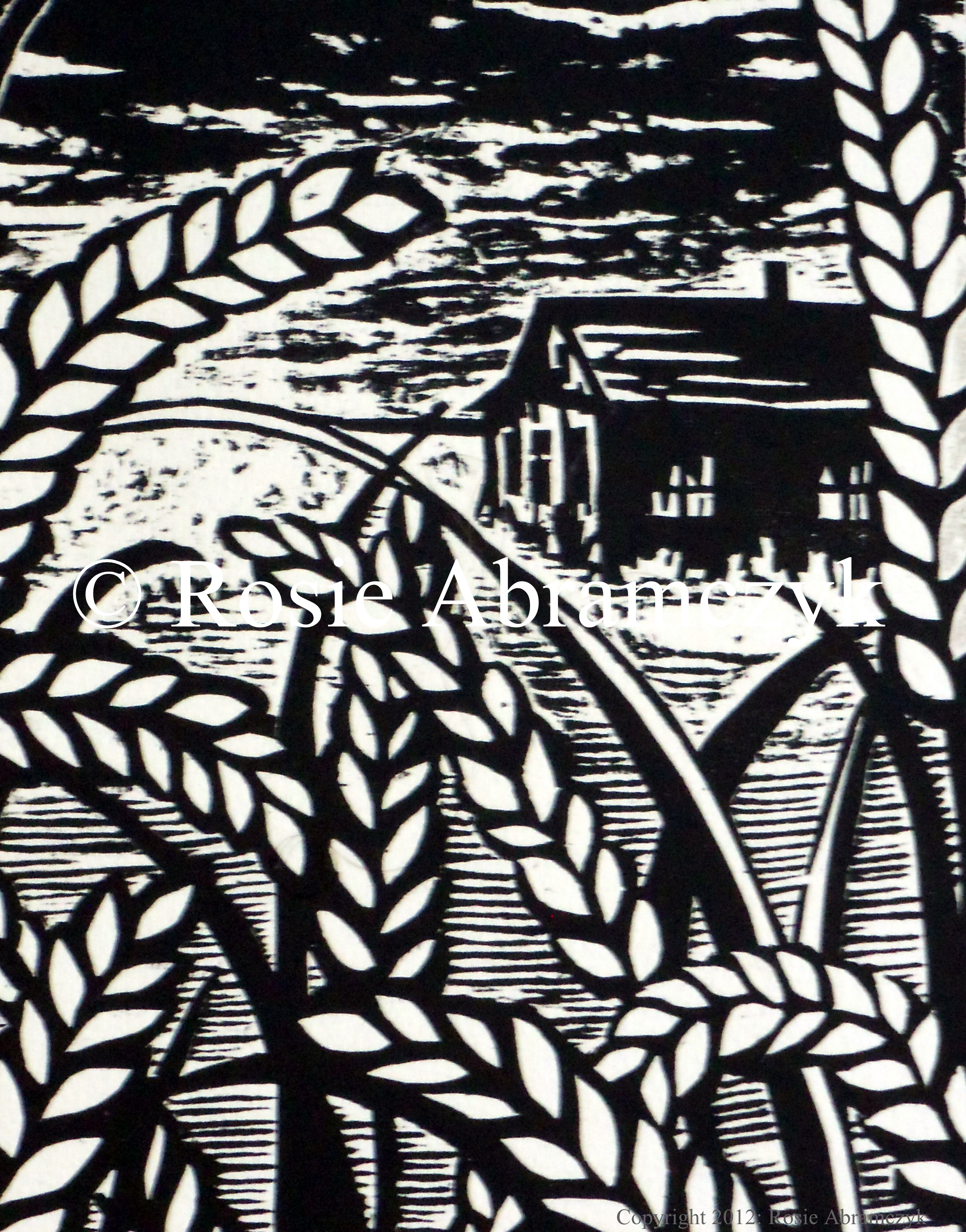 Antone's KS Home, by Rosie Bromeier-Abramczyk, Woodcut (Detail), 2007