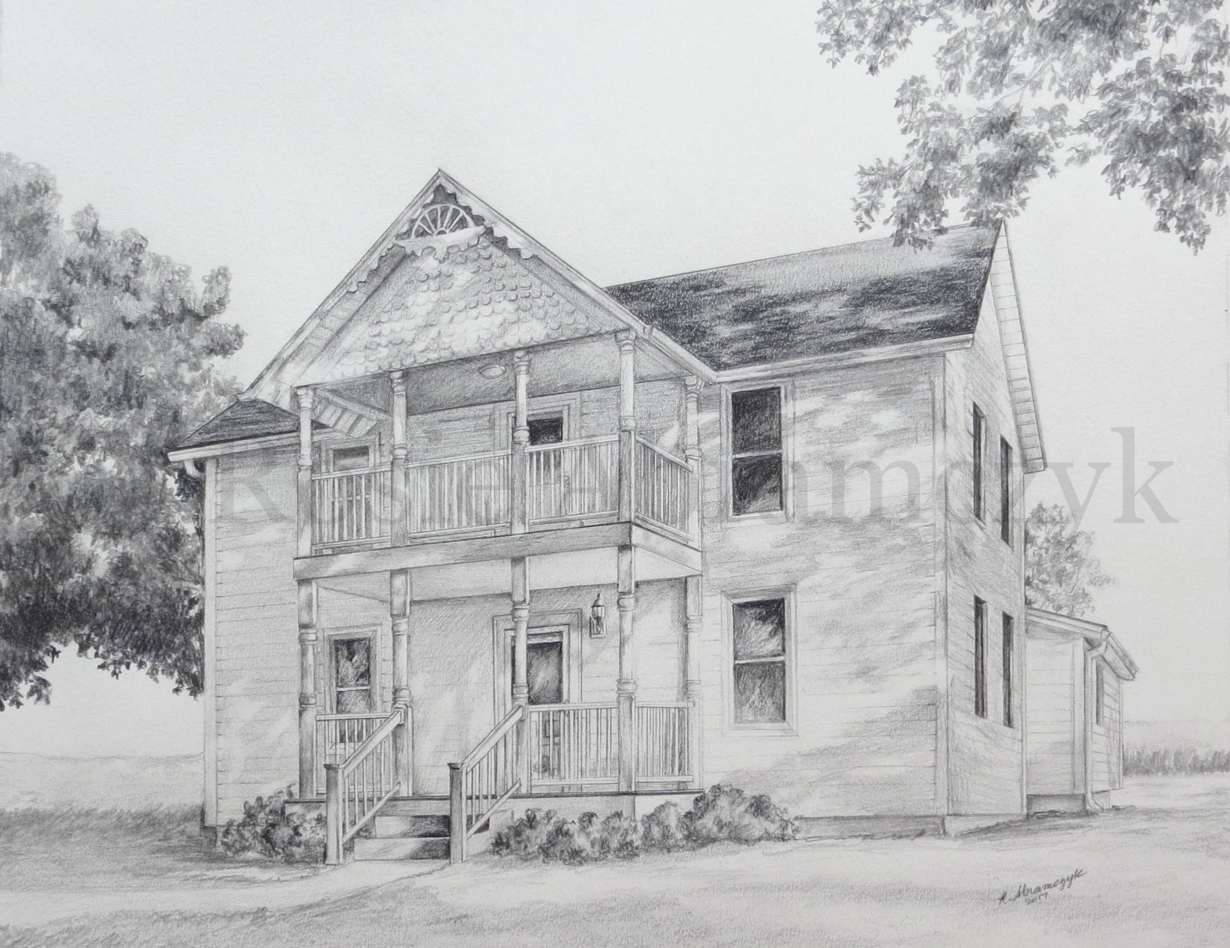 Whitener Home, Marquand, MO, by Rosie Abramczyk, Pencil, 2017