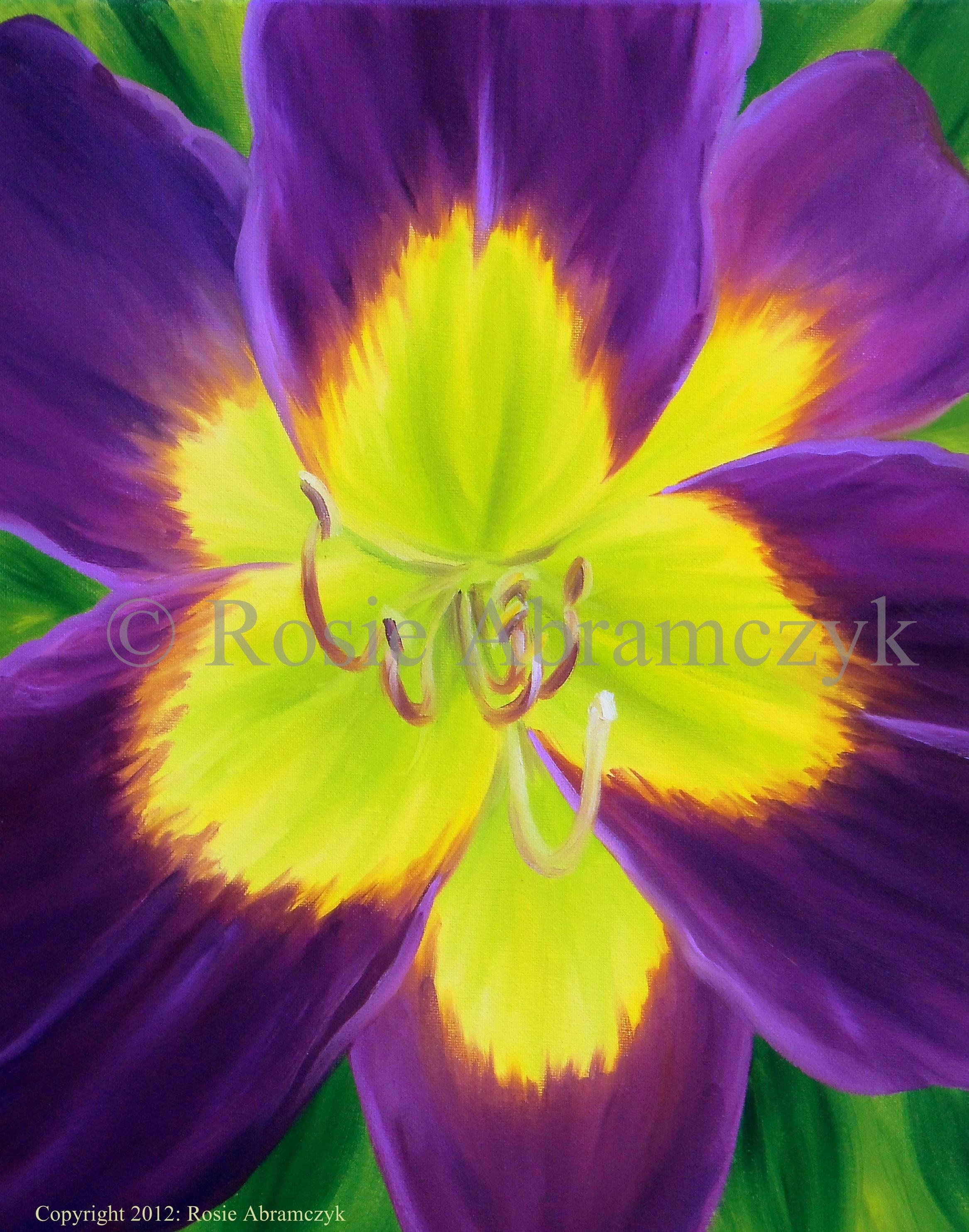 Purple Daylily, Rosie Abramczyk, Oil, 2012