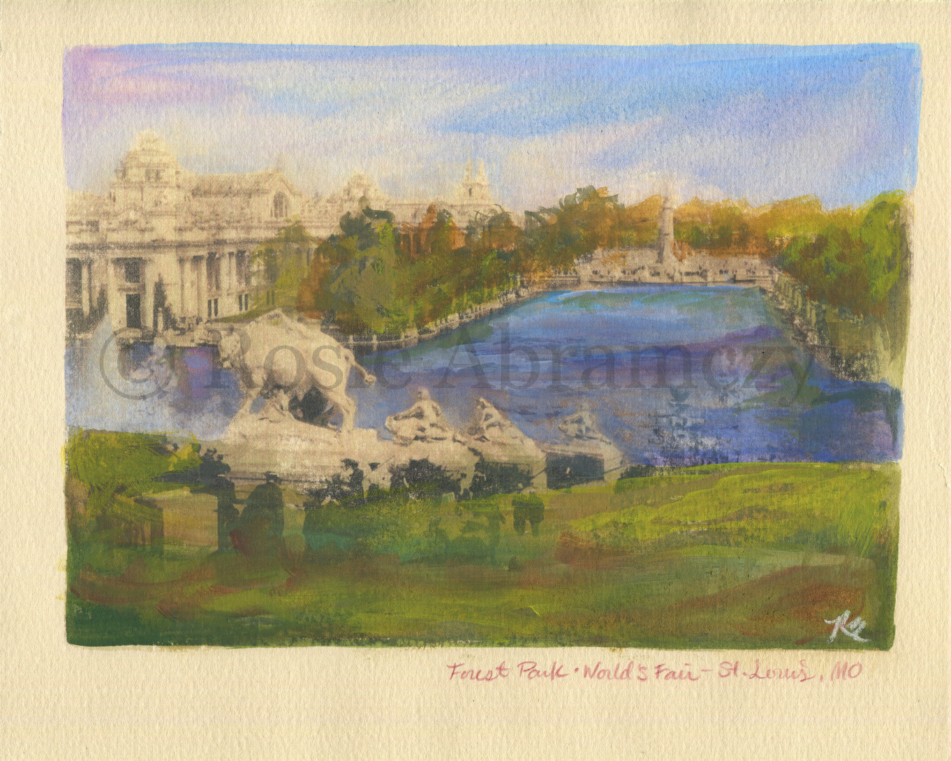 Forest Park and The World's Fair, St. Louis, MO, by Rosie Abramczyk, Gouache and Xerox Transfer, 200