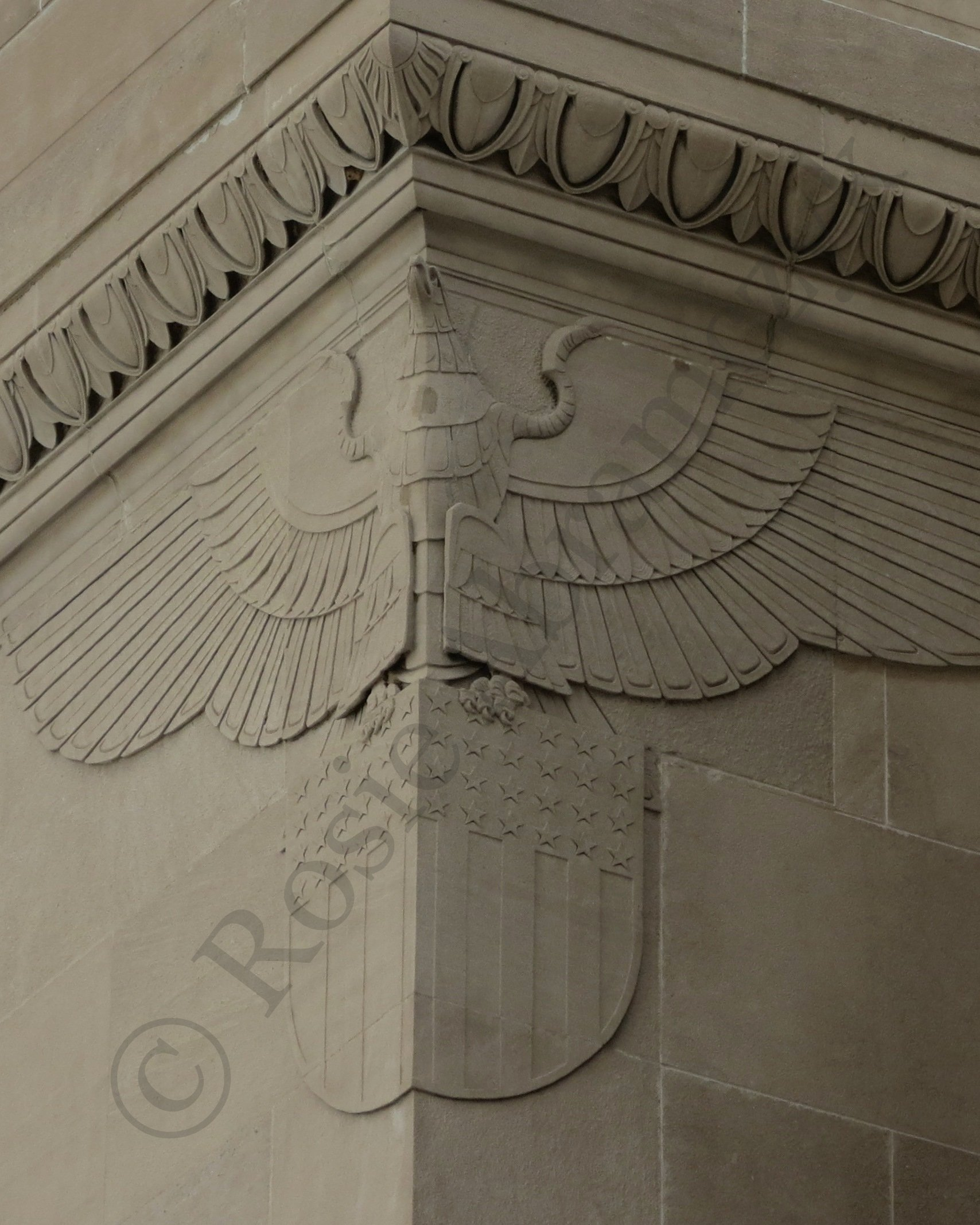 Eagle on the Federal Reserve Bank, St. Louis, by Rosie Abramczyk, 2013