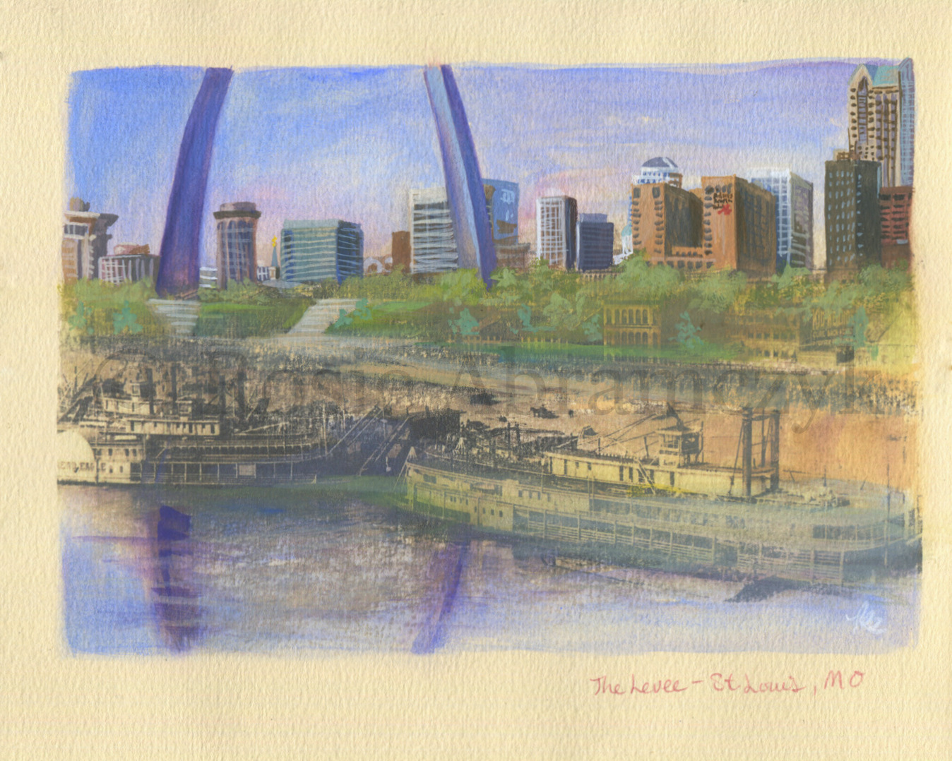 The Levee, St. Louis, MO, by Rosie Abramczyk, Gouache and Xerox Transfer, 2008