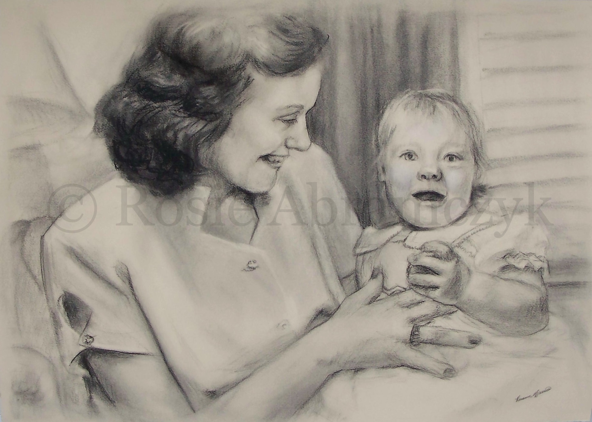Mother and Child, by Rosie Bromeier-Abramczyk, 2008, Charcoal