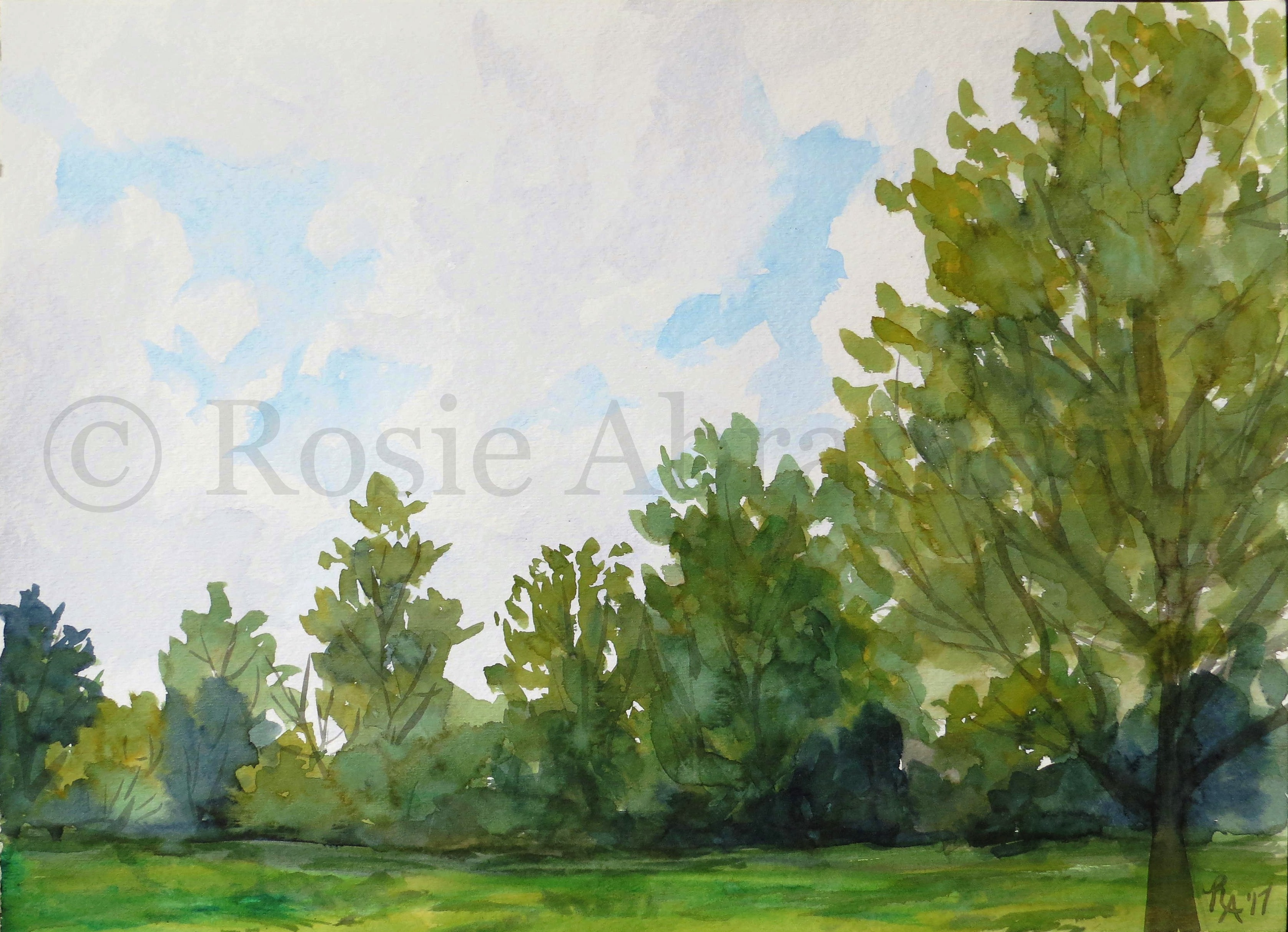 Greenery Along the Bank of the Mississippi River, St. Charles, MO, by Rosie Abramczyk, Watercolor, 2