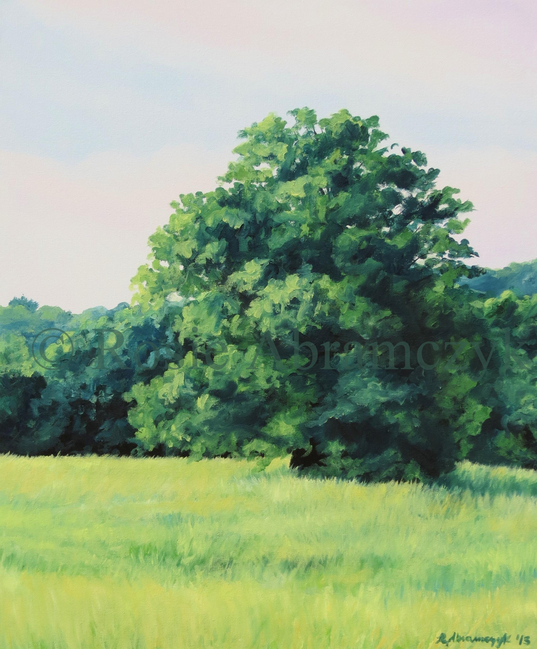 Spring Treeline in Lawson, MO, by Rosie Abramcyk, Oil Paint, 2013