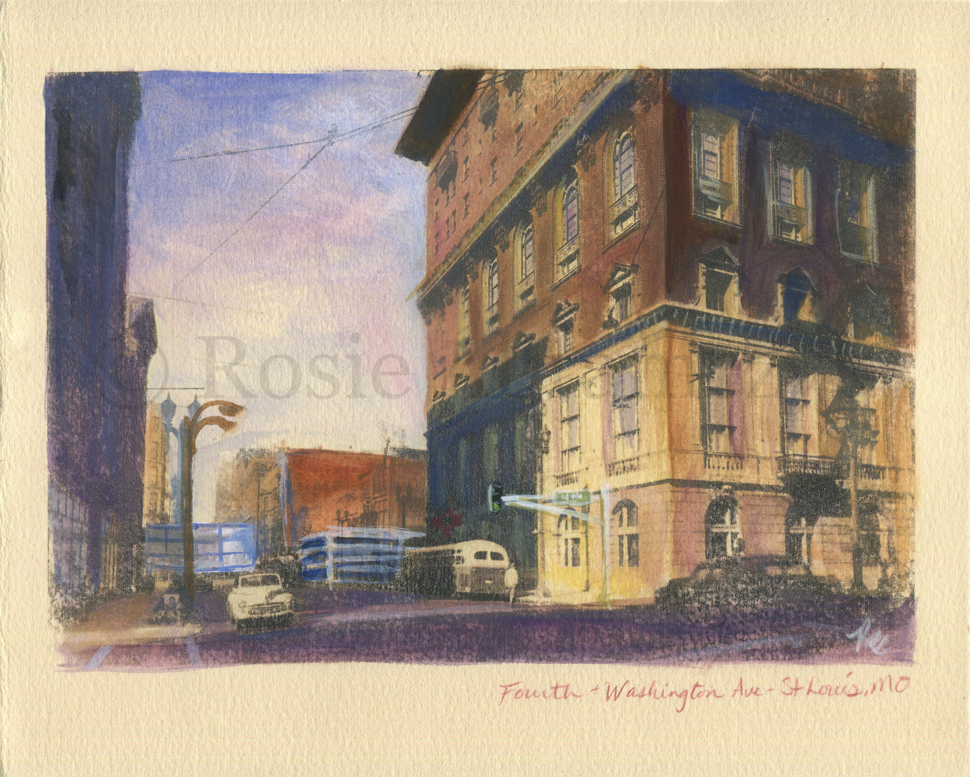 Fourth St and Washington Ave., St. Louis, MO, by Rosie Abramczyk, Gouache and Xerox Transfer, 2008