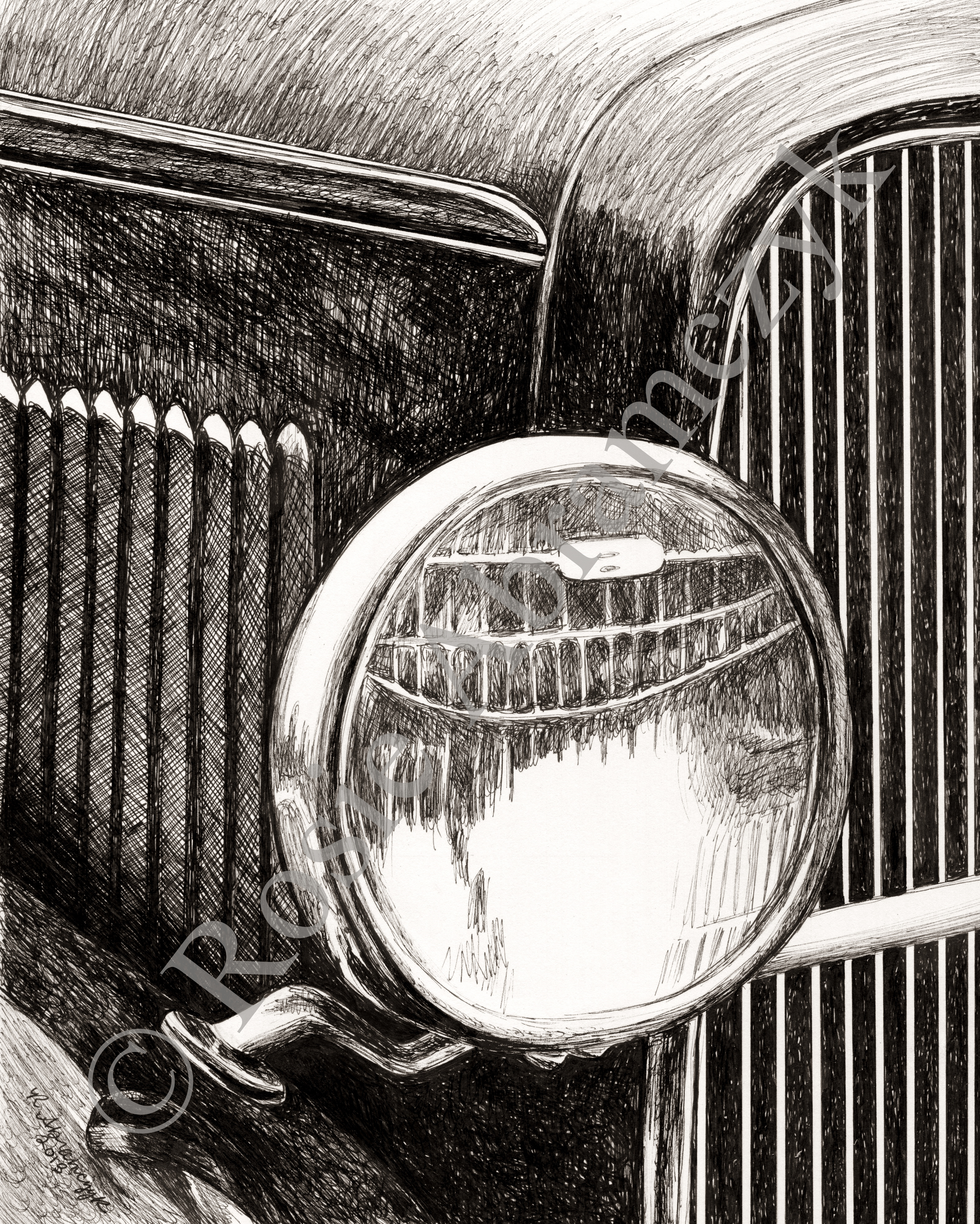 1930 Ford Model A, by Rosie Abramczyk, Pen and Ink, 2013