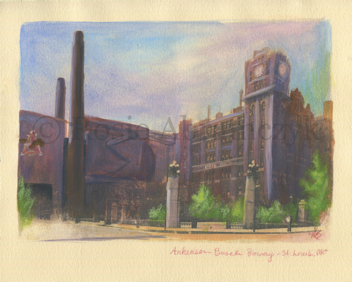 Anheuser-Busch Brewery, St. Louis, MO, by Rosie Abramczyk, Gouache and Xerox Transfer, 2008