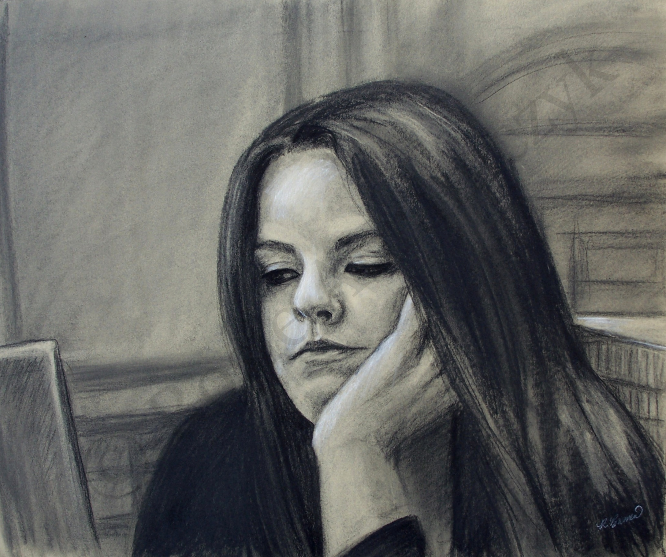 Kim at the Library, by Rosie Bromeier-Abramczyk, Charcoal, 2008