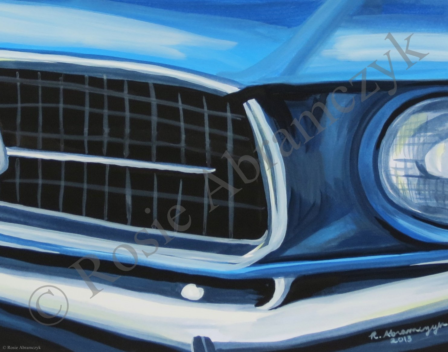 1967 Ford Mustang, by Rosie Abramczyk, Gouache Paint, 2013