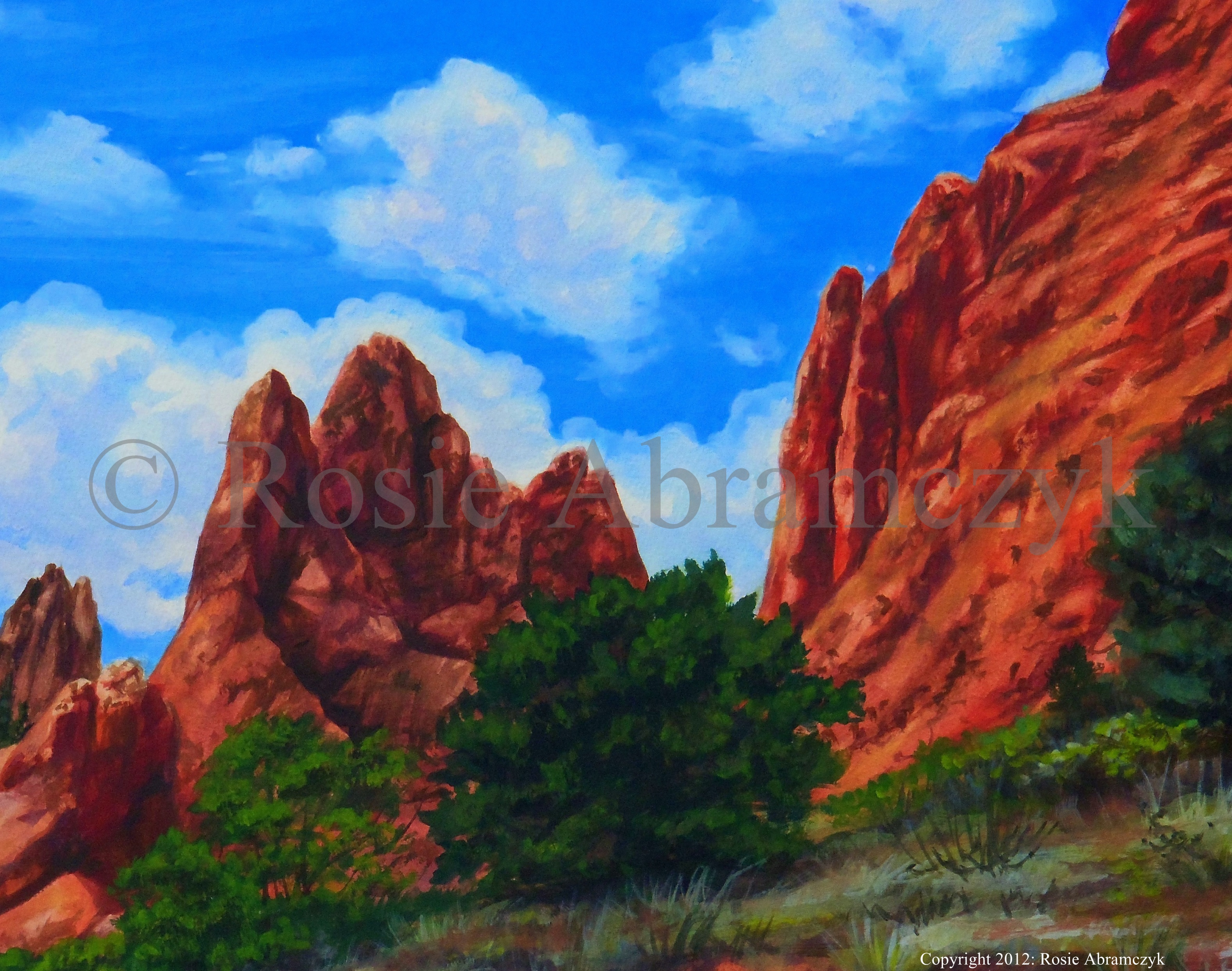 Garden of the Gods, Colorado, by Rosie Abramczyk, Gouache Paint, 2011