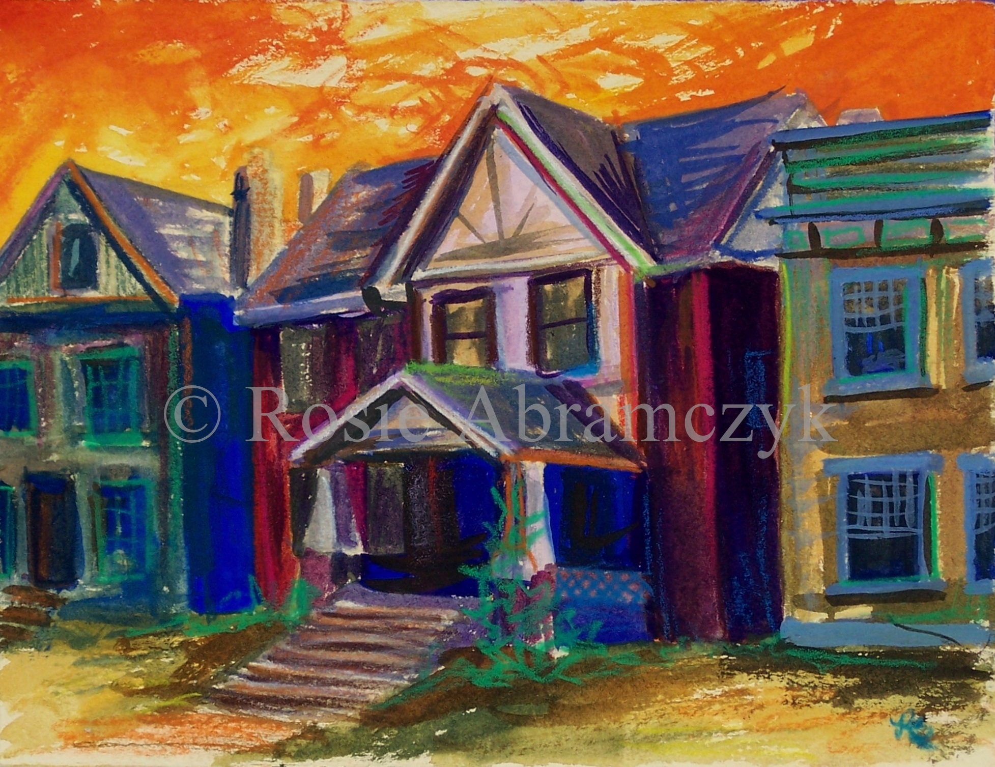 Central West End Home, by Rosie Abramczyk, Gouache, 2008