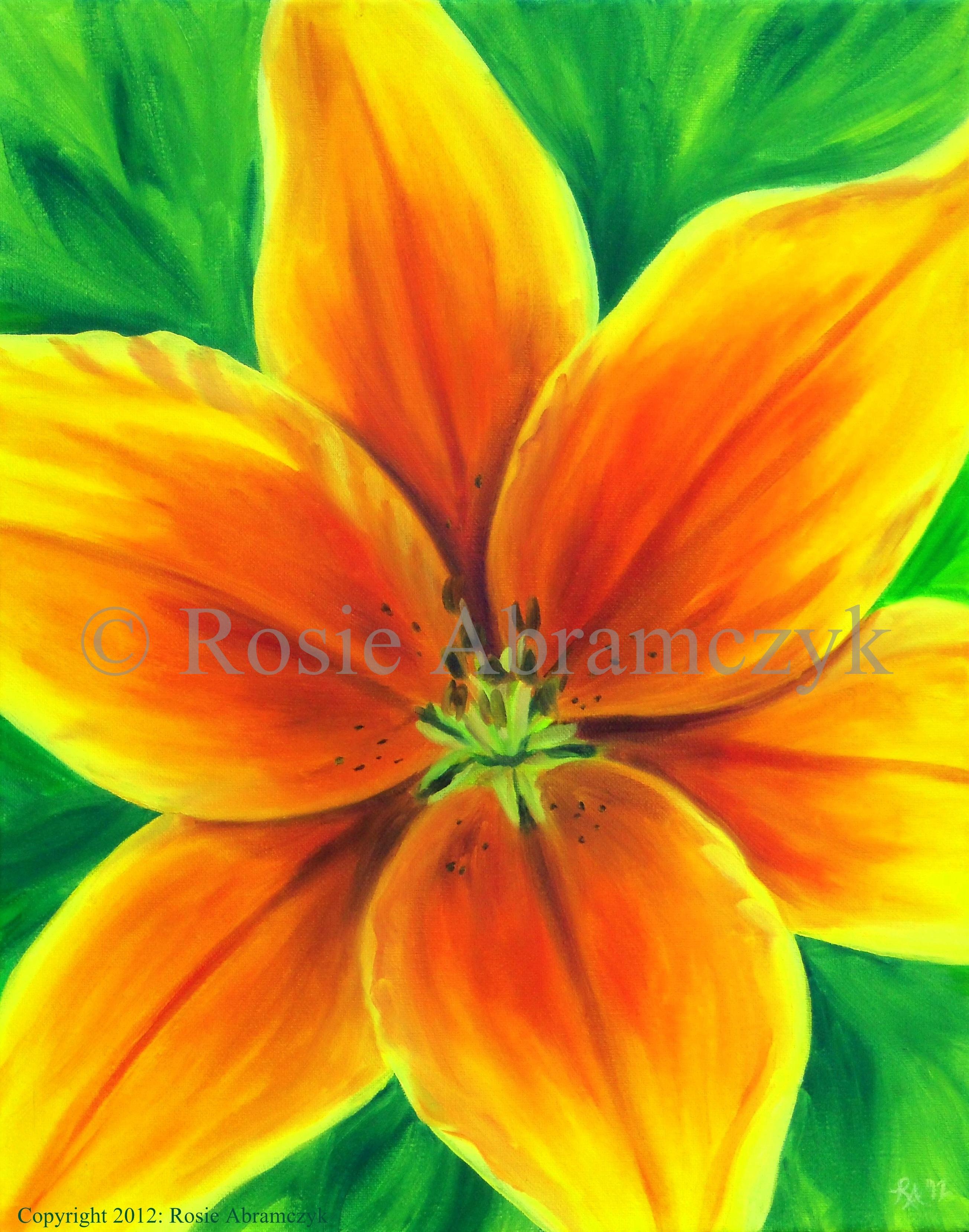 Orange Tiger Lily, Rosie Abramczyk, Oil, 2012