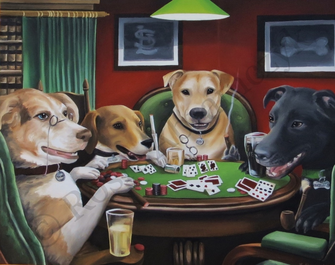 The Abramczyk Family Dogs Playing Poker, by Rosie Abramczyk, Oil Paint, 2014