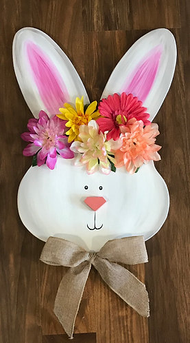 Spring Bunny Door Hanger with Flowers