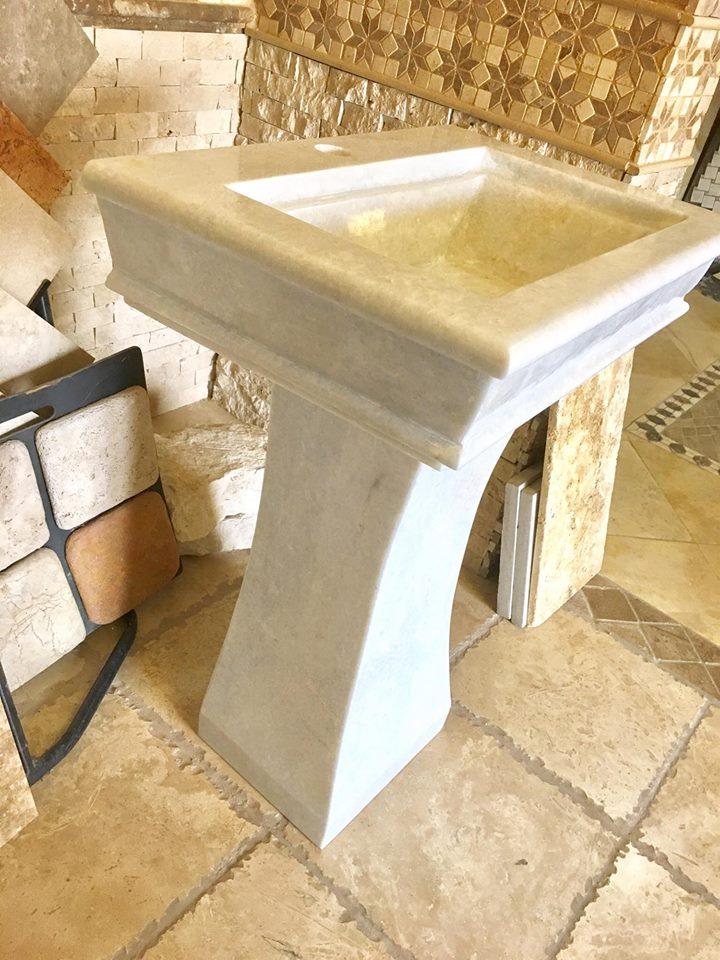 White Marble Pedestal Sink
