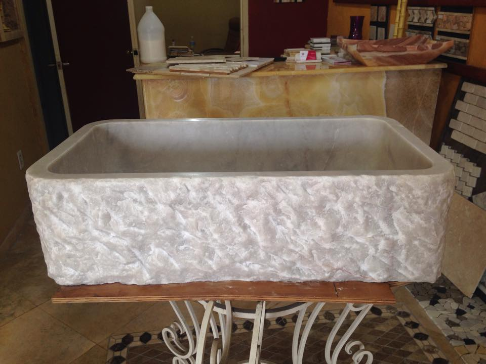 FARM SINK WHITE MARBLE CHISELED FRONT
