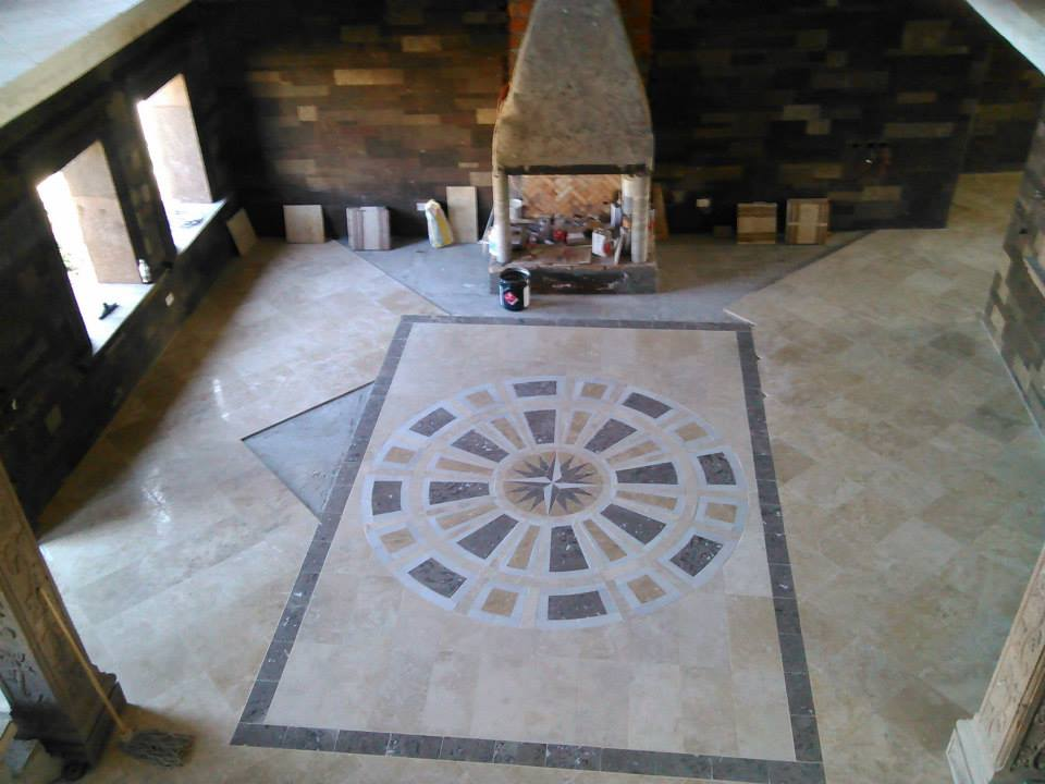 Travertine with Marble Medallion