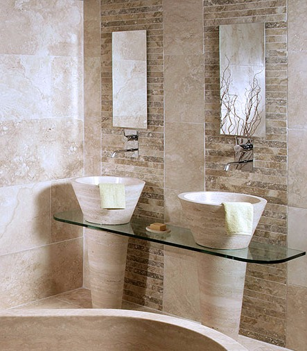 Travertine Sinks with Pedestal