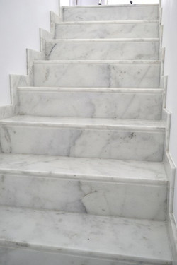 White Marble Stairs with Gray Vein
