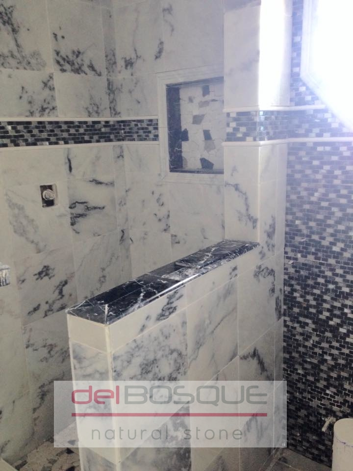 White Marble with Gray vein Bathroom