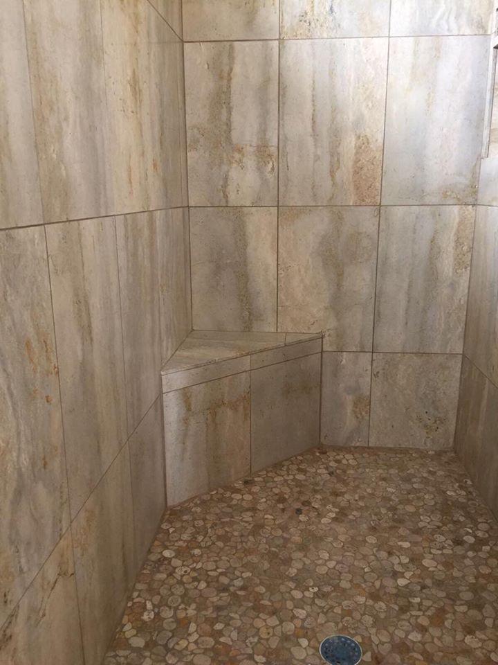Vein-cut Travertine Shower