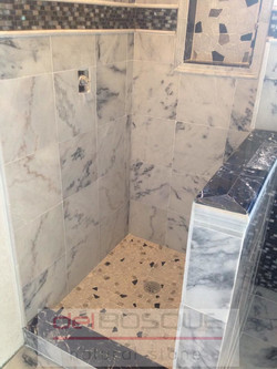 White Marble with Gray vein Shower