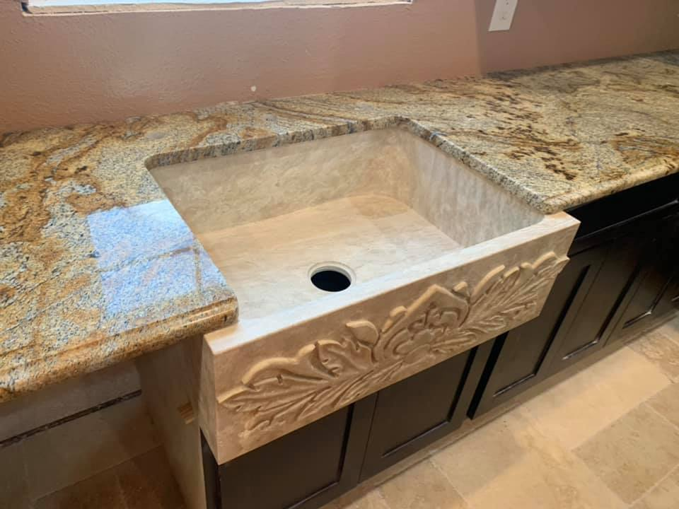 Carved Travertine Farmhouse Sink