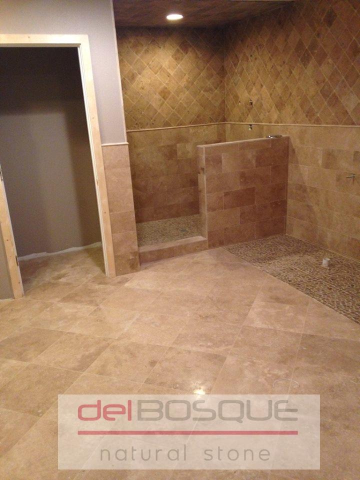 Mocha/Chocolate Travertine Bathroom