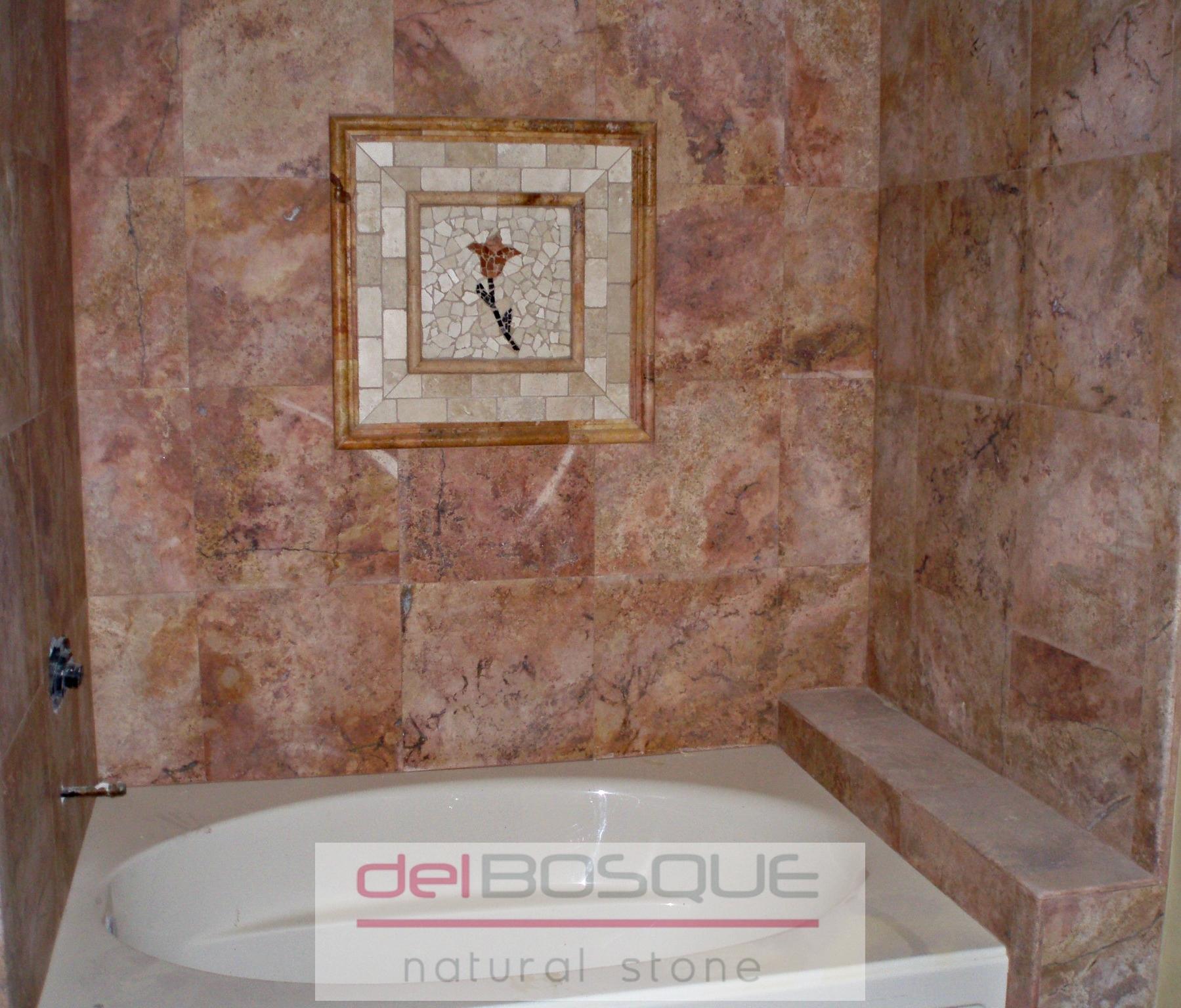 Peach Travertine Bathroom