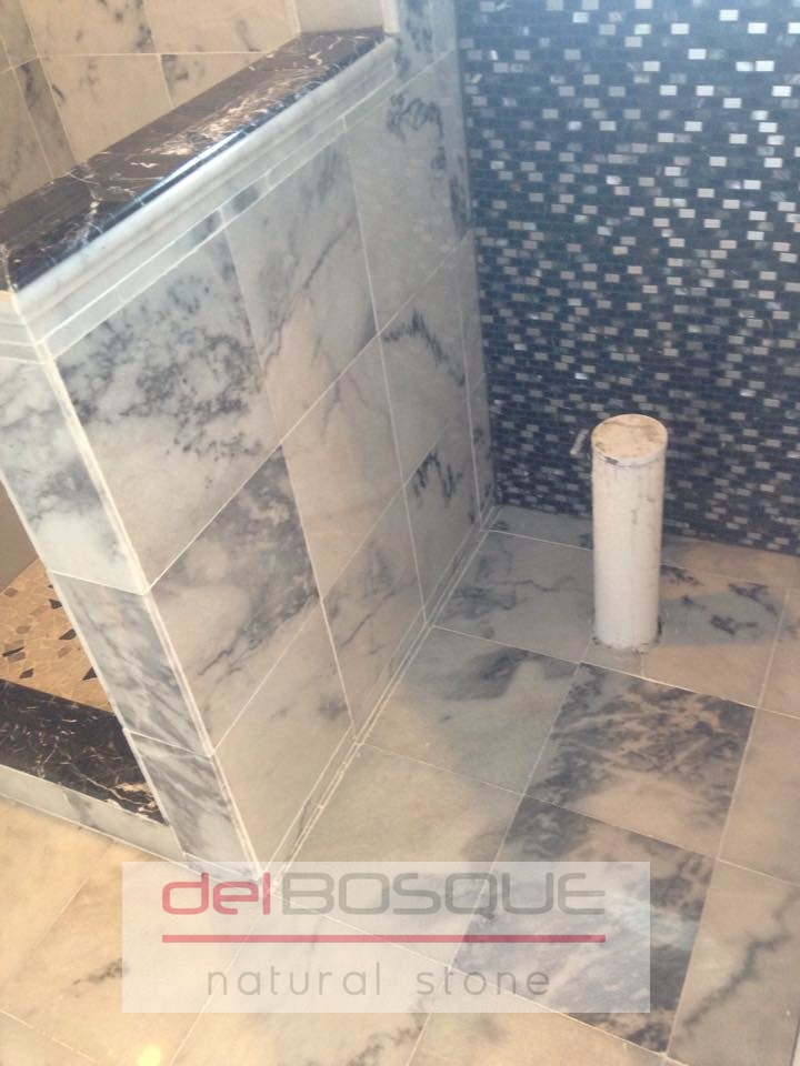 """12""""x12"""" White Marble with Gray Vein"""