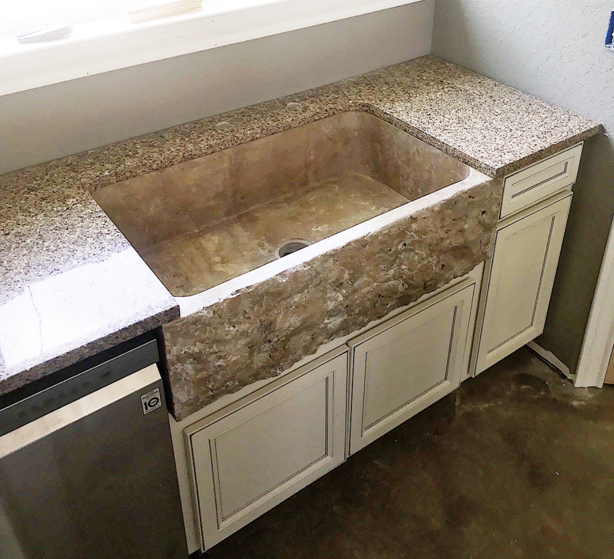 Chiseled Travertine Farmhouse Sink