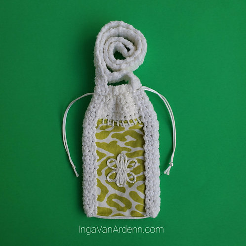 Lime Leopard White Phone Pouch