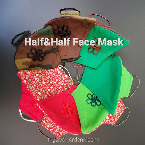 Half & Half Face Mask Reusable 4 layers&filter
