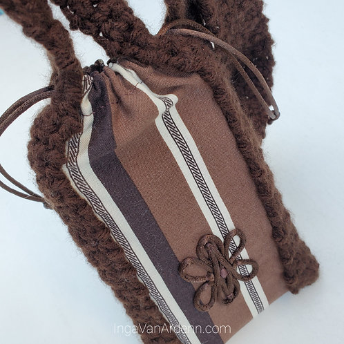 *CUSTOM* Square Phone Pouch - Brown & White Last One