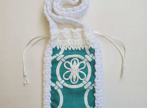 Jade Green White Phone Pouch