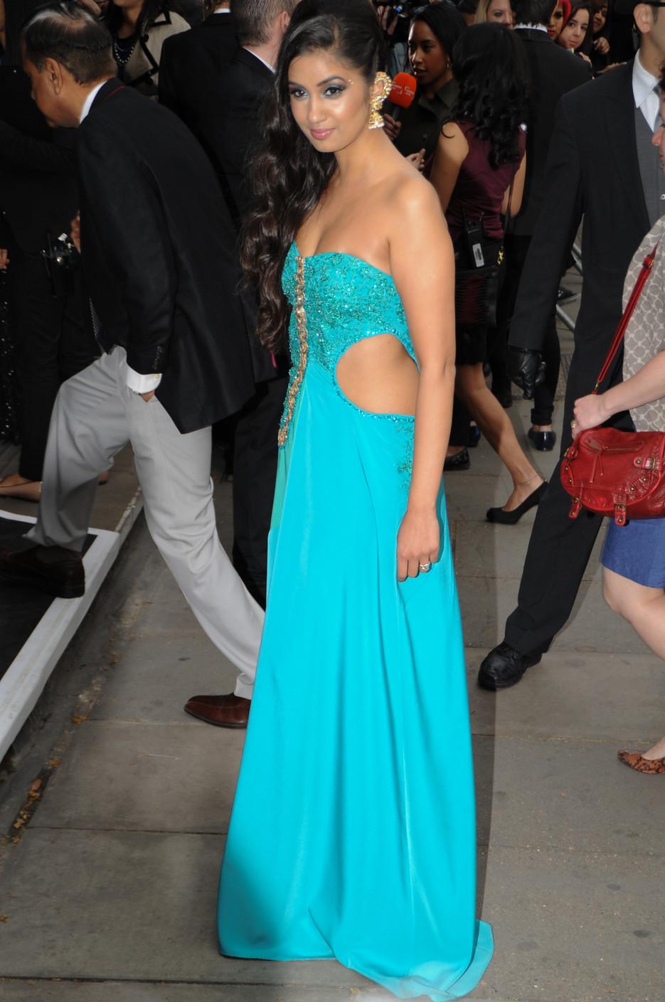 Shay Grewal At the Asian Awards in a custom Shara Johnson Design