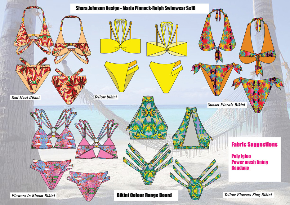 Shara Johnson Design - Sanavay Swimwear SS18 - Bikini Range Board