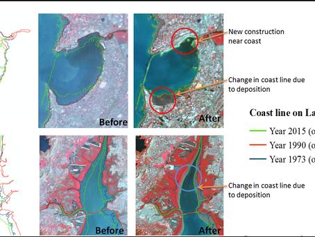 Spatiotemporal change detection of coastline with satellite remote sensing