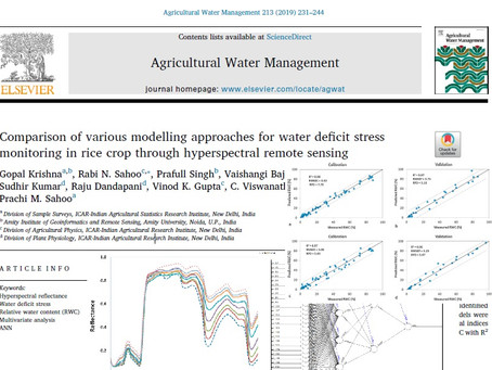 Monitoring and modelling of Relative Water Content (RWC) in plants through comparative evaluation of