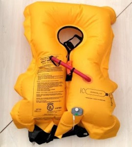 Fully inflated Quiksilver belt pack PFD.