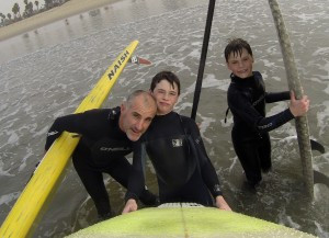 Michael Kelly and his sons pose for a selfie after sharing a great session on the water.
