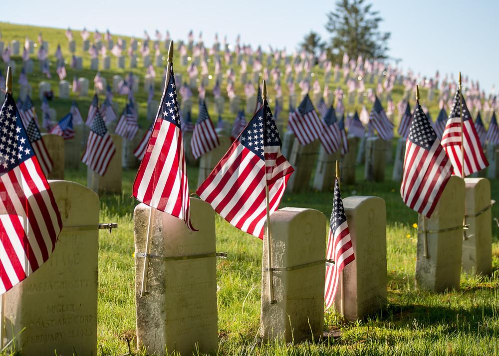 memorial day, paddlexaminer, american flags