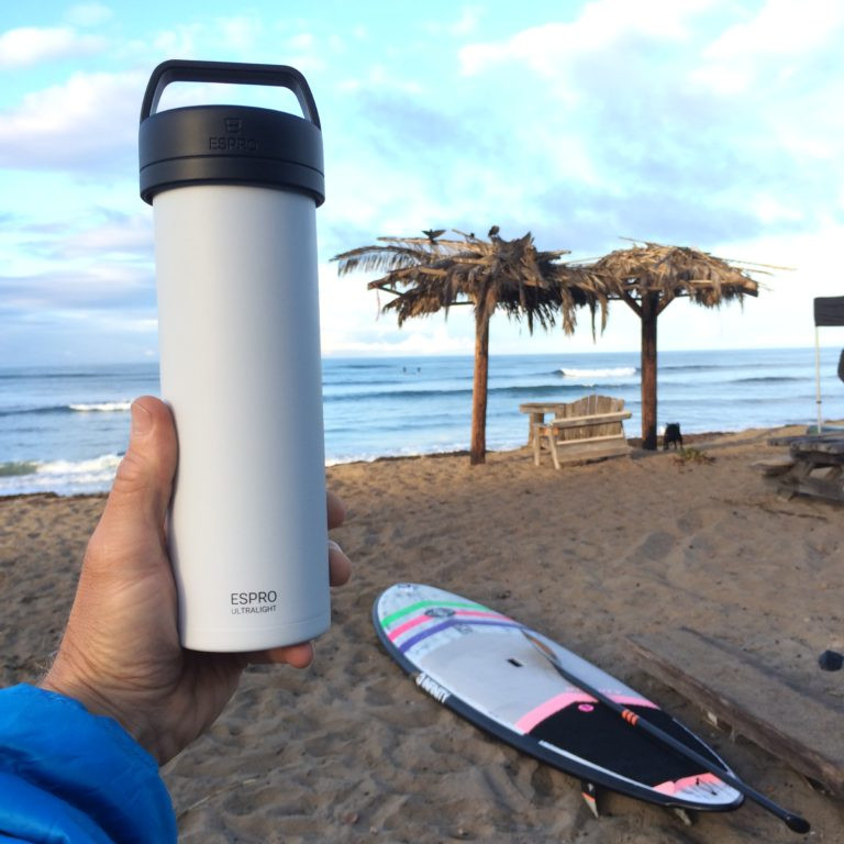 infinity sup, infinity new deal, san onofre surf beach, san onofre state beach, old man's, ESPRO, coffee, paddlexaminer, coffee press, tea press, ultralight, reusable