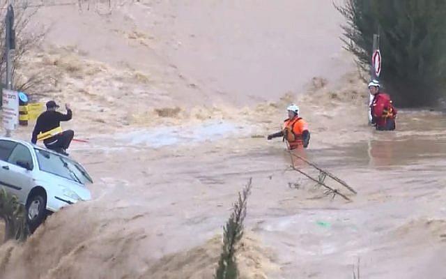Flooding at entrance of Ein Harim school