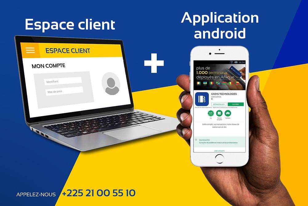 espace client et application android