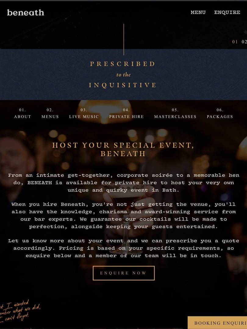 Beneath Bar Website Copy Homepage