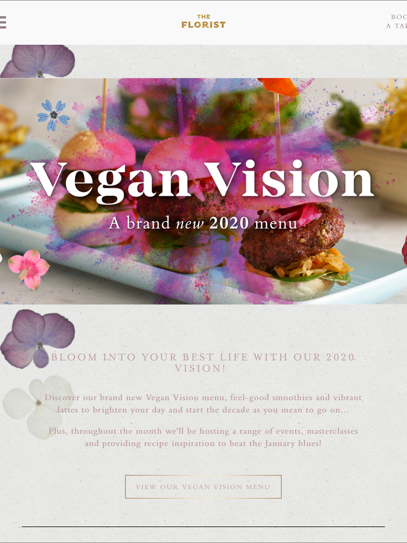 The Florist Vegan Vision Landing Page.pn